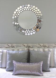 FUN mirror!!! Master bedroom done in silvers, grays, whites, and metallic finishes - Beautimous!!!