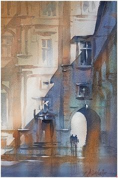 Facade Study in Warm and Cool - France by Thomas W. Schaller Watercolor ~ 18 inches x 13 inches