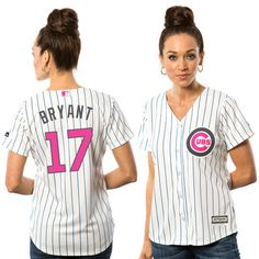Majestic Womens Chicago Cubs #17 Kris Bryant White Stripe 2016 Mother's Day Flex Base Jersey