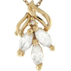 14k Yellow Gold Three Stone White CZ Cute Fancy Ladies 1.7cm Slide Pendant Jewelry Liquidation. $134.06. Made in USA!. Made with Real 14k Gold!