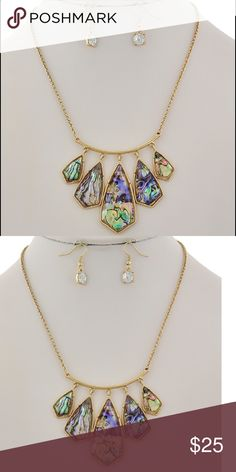 "Abalone Shell Necklace set Gold Tone / Green Multi Color Abalone Shell  / Metal / Fish Hook (earrings) / Charm Graduating / Necklace & Earring Set •   ChiqStyle No : 000536105 •   LENGTH : 17 1/2"" + EXT •   EARRING : 3/8"" X 1"" •   DROP : 2""  •   GOLD/ABALONE Jewelry Necklaces"