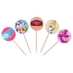 Compre MZ DECORACOES E FESTAS LTDA : Topper para Cupcake e doces Alice 10 unidades por R$5,90 - MZDecoracoes