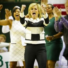 Baylor Women's Basketball Coach Kim Mulkey is ecstatic every single time her team gets a win! #SicEm