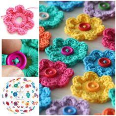 How to DIY Crochet Button Flower Blossom Wall Art | www.FabArtDIY.com         #tutorial #crochet #button flower           Follow us on Facebook ==> https://www.facebook.com/FabArtDIY