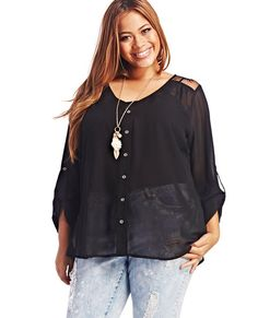"<p>The dainty lace detailing adds just the right amount of femininity to this foxy top, featuring a sheer chiffon body with classic front button placket, soft v-neckline, draped back, long tab sleeves, and delicate floral lace along the shoulders and back.</p>  <p>Model is 5'9"" and wears a size 1X.</p>  <ul> 	<li>Self: 100% Polyester</li> 	<li>Contrast: 100% Nylon</li> 	<li>Hand Wash</li> 	<li>Imported</li> </ul>"