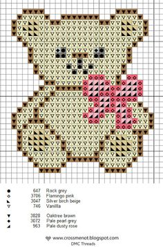 27 Ideas Knitting Charts Bear Cross Stitch For 2019 Small Cross Stitch, Cross Stitch Baby, Cross Stitch Animals, Cross Stitch Charts, Disney Cross Stitch Patterns, Cross Stitch Designs, Cross Stitching, Cross Stitch Embroidery, Small Teddy Bears