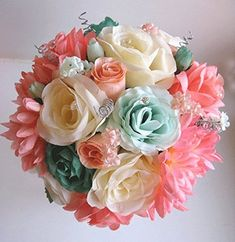 Amazon.com - 17 Pc Wedding Bouquet Bridal Silk Flower Coral Teal Green Mint Gray Peach Silver -
