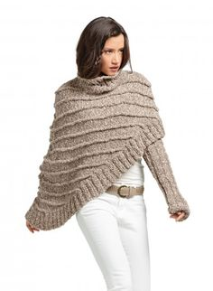 BERGERE DE FRANCE asymmetric poncho | Breipatroon Asymmetrische cape