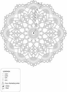 doily by anabelia with free Free Crochet Doily Patterns, Crotchet Patterns, Crochet Diagram, Crochet Chart, Diy Crochet, Vintage Crochet, Crochet Stitches, Lace Doilies, Crochet Doilies