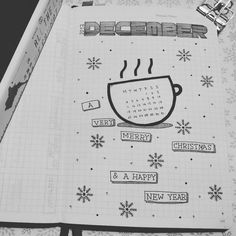 Bullet journal monthly cover page, December cover page, Winter drawings. @lovenitaloveyou
