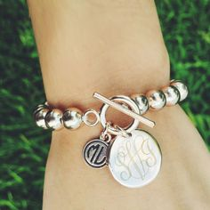 Monogrammed Silver Ball Toggle Bracelet - Perfect for stacking in an #armparty