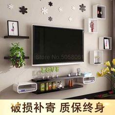 Living Room Tv Unit Designs, Bedroom Cupboard Designs, Bedroom Tv Wall, Shelves In Bedroom, Tv Wall Shelves, Wall Tv, Versace Jeans, Floating Shelf Under Tv, Tv Wanddekor