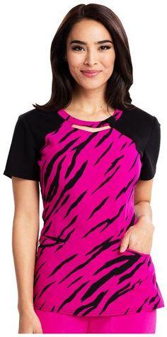 29265fb8cdf Audrey Contrast Round Neck Top - Stay A Wild Hot Magenta - Scrub Shopper  Uniform Shop