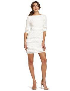 Reviews Donna Morgan Women's Eyelash Sheath Dress, White, 2