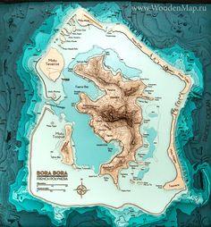 Wooden Map of Bora-Bora