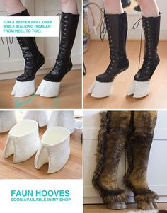 Cool hoof shoes for faun/saytr Costume Halloween, Cool Costumes, Costume Ideas, Cosplay Diy, Best Cosplay, Satyr Costume, Hoof Shoes, Halloween Disfraces, Fursuit