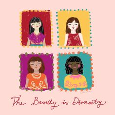 The beauty in diversity #illustration #girl #woman #united #watercolor #digitalpainting #gouache #colorful