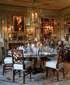 Howard Slatkin's magnificent dining room is like being transported to St. Petersburg, although the inspiration is more French Empire,