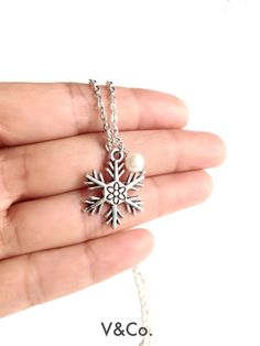 Snowflake and Pearl Necklace Holiday Jewelry by VelazioAndCo