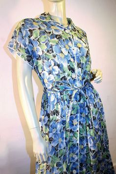 40s Floral Day Dress Fashion Frock Blue Green by MorningGlorious, $79.00