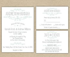 Vintage Wedding Invitation and RSVP -Printable DIY. printed country chic outdoor wedding (1054 -E))