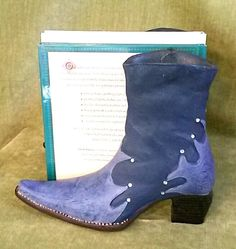 Burton & Burton book ends Southwestern Decor Blue Cowboy Boots w/ Rhinestones