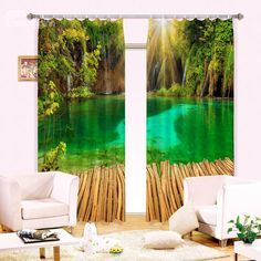 Green Lake Forest Customize Blockout Photo Curtains Print Home Window Decor Block Out Curtains, 3d Curtains, Curtains For Sale, Natural Curtains, Online Shopping, Australia Photos, 3d Tree