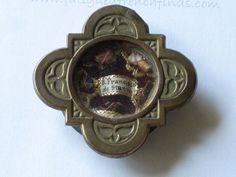 Antique French Bronze Reliquary Pendant Theca - Bishop Francisci de Stanno