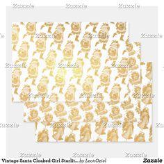 Shop Vintage Santa Cloaked Girl Starlit Angel Gold Foil Wrapping Paper Sheets created by LeonOziel. Foil Paper, Paper Crafts, Diy Crafts, Gift Wrapping Paper, Vintage Santas, Cloak, Creative Gifts, Gold Foil, Invitation Cards
