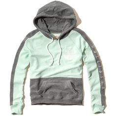 Hollister Colorblock Logo Graphic Hoodie (£20) ❤ liked on Polyvore featuring tops, hoodies and mint