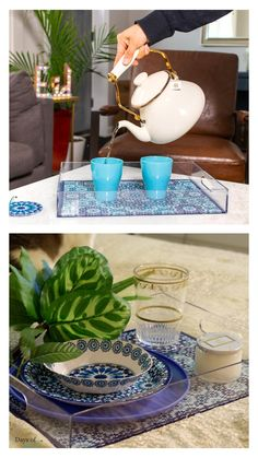 Stylish and functional, our Marrakech coaster set goes with just about everything. Check out the blue color way and more on our website. #daysofeid