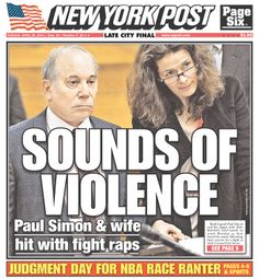 """The Post on Paul Simon & Edie Brickell arrests: """"SOUNDS OF VIOLENCE"""""""