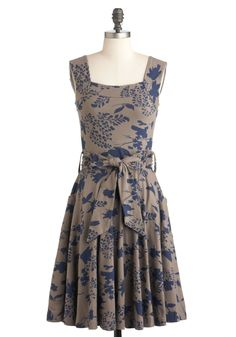 Guest of Honor Dress by Effie's Heart - Brown, Blue, Floral, Pockets, Party, Casual, A-line, Sleeveless, Tank top (2 thick straps), Show On Featured Sale, Long, Best Seller, Top Rated