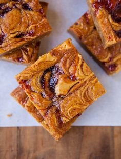 Peanut butter and jelly blondies.