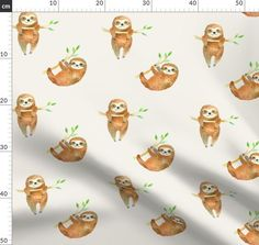 Baby Sloths custom fabric by hipkiddesigns for sale on Spoonflower Safari, Baby Sloth, Surface Design, Custom Fabric, Spoonflower, Red And White, Craft Projects, Quilts, Wallpaper