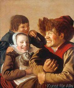 Jan Miense Molenaer - Ein zähnefletschender Mann mit Hund und ein Mädchen mit Katze, dahinter ein Junge