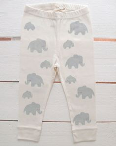 Elephant dad and elephant baby handprinted organic baby leggings.