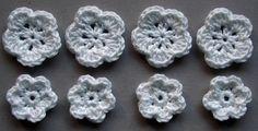 Häkelblumen | Baumwolle, weiß, 8 Stück