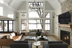 Custom Home Builders, Custom Homes, Dream Home Builder, Home And Family, Family Rooms, Lake View, Luxury Homes, Living Room, Furniture
