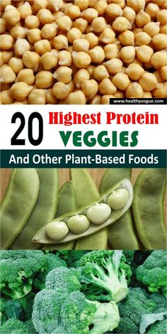 We have ranked 20 high-protein vegetables, legumes, and minimally processed meat alternatives. Protein Foods List, Best Protein, High Protein Recipes, Healthy Protein, Protein Cake, Protein Muffins, Protein Cookies, Healthy Eats, High Protein Vegetables