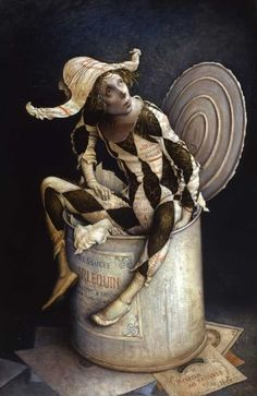 "artist Claude Verlinde - ""Harlequin in the box"" - surrealist Dark Circus, Circus Circus, Art Sculpture, Sculptures, Arte Punch, Pierrot Clown, Send In The Clowns, Night Circus, Inspiration Art"