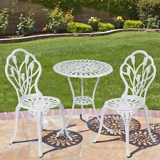 3Piece Outdoor Bistro Set White Aluminum Antique Style Patio Garden Furniture