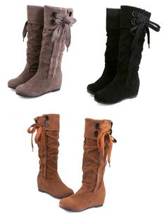 Womens Lovely Ribbon Knee High Casual Wedge Boots