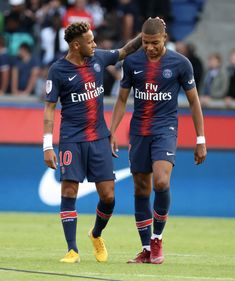 Kylian Mbappe of Paris Saint-Germain celebrates the victory with Neymar Jr after the Ligue 1 match between Paris Saint-Germain and SCO Angers at Parc des Princes on August 2018 in Paris, France. Get premium, high resolution news photos at Getty Images Neymar Jr, Football Neymar, Lionel Messi, Ronaldo Celebration, Mbappe Psg, As Monaco, Paris Saint Germain Fc, Guys And Girls, Football Players