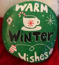 Warm Winter Wishes Painted Rock Art, Collectible, Home Decor, Christmas/Winter Decoration & Gift by MoonRocksArt on Etsy https://www.etsy.com/listing/551722858/warm-winter-wishes-painted-rock-art