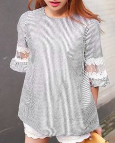 Cute Striped Round Neck Half Sleeve Blouse For Women
