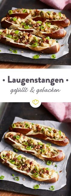 Filled & baked: pretzel stick with apple, ham and cheese - Gefüllt & gebacken: Laugenstange mit Apfel, Schinken und Käse Lye Bar Deluxe! The fast bread time from the oven scores with a filling of sweet apples, hearty ham and spicy cheese. Work Meals, Easy Meals, Clean Eating Recipes, Clean Eating Snacks, Appetizer Recipes, Snack Recipes, Sandwich Recipes, Snacks Für Party, Ham And Cheese