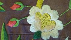 Antique English embroidered silk panel floral hand by abfabs10