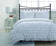 3-pieces White Textured Ruffle Soft Comforter Set , Full Size by JD Home, http://www.amazon.com/dp/B00F59GVKO/ref=cm_sw_r_pi_dp_EhGpsb065QXXR