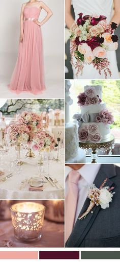 dusty rose wedding color ideas and tulle bridesmaid dresses trends for fall weddings 2015